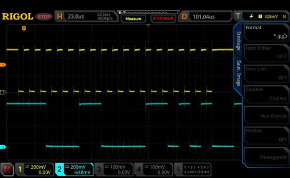 Trame SSI sur oscilloscope